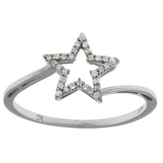 14k White Gold 1/10ct TDW Diamond Star Ring (G-H, I1-I2)