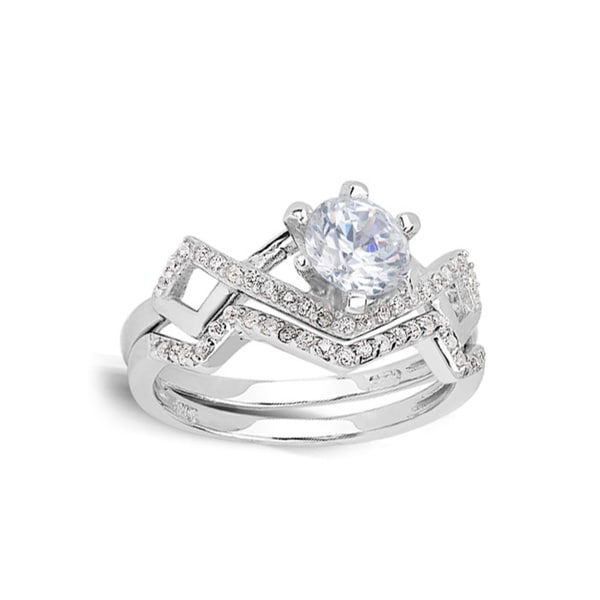 Sterling Silver Cubic Zirconia Zig-zag Bridal Ring Set