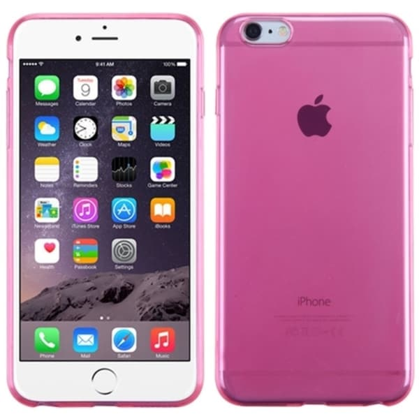 Insten Hot Pink Clear TPU Rubber Candy Skin Phone Case Cover For Apple iPhone 6 Plus