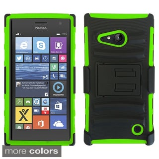 Insten Plain Advanced Armor Hard PC/ Silicone Dual Layer Hybrid Phone Case Cover with Stand For Nokia Lumia 735