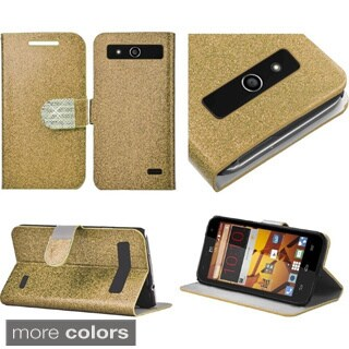 Insten Plain Leather Fabric Glitter Phone Case Cover with Stand/ Wallet Flap Pouch/ Diamond For ZTE Speed