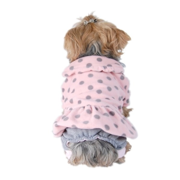 Insten Pink Grey Pet Puppy Dog Full Lining Fleece Top With Pants One Piece