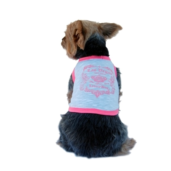 Insten White Pink Trim Pet Puppy Dog Las Vegas Tee