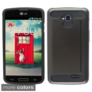 Insten Plain Hard PC/ Silicone Dual Layer Hybrid Rubberized Matte Phone Case Cover with Card Slot For LG F70 D315