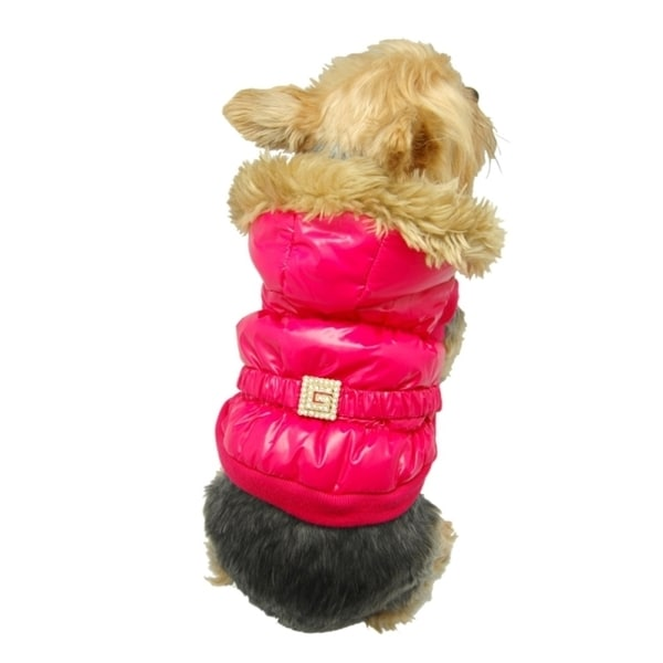 Insten Hot Pink Pet Puppy Dog Soft Warm Furry Hoodie Trim