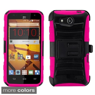 Insten Plain Hard PC/ Silicone Dual Layer Hybrid Phone Case Cover with Holster For ZTE Speed