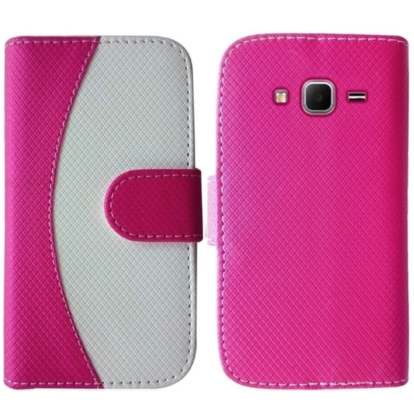 Insten Hot Pink/ White Leather Phone Case Cover with Wallet Flap Pouch For Samsung Galaxy Core Prime/ Prevail