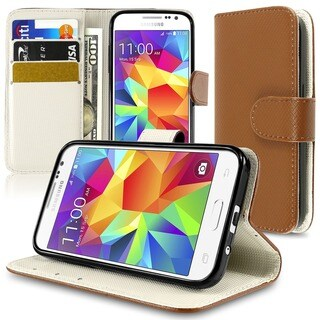 Insten Plain Leather Phone Case Cover with Stand For Samsung Galaxy Core Prime/ Prevail