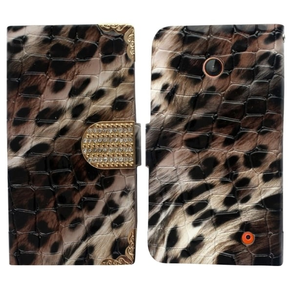 Insten Brown/ Black Leopard Leather Phone Case Cover with Wallet Flap Pouch/ Diamond For Nokia Lumia 630/ 635
