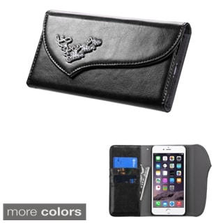 Insten Plain Leather Phone Case Cover with Wallet Flap Pouch/ Diamond For Apple iPhone 6 Plus