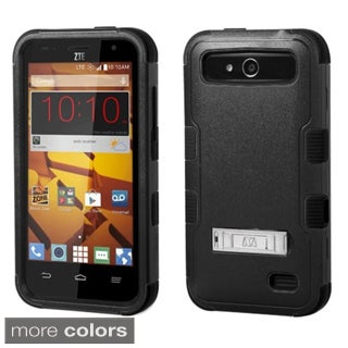 Insten Plain Hard PC/ Silicone Dual Layer Hybrid Rubberized Matte Phone Case Cover with Stand For ZTE Speed