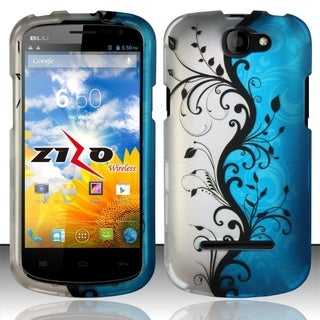 Insten Blue/ Silver Vines Hard Snap-on Rubberized Matte Phone Case Cover For BLU Dash 4.5