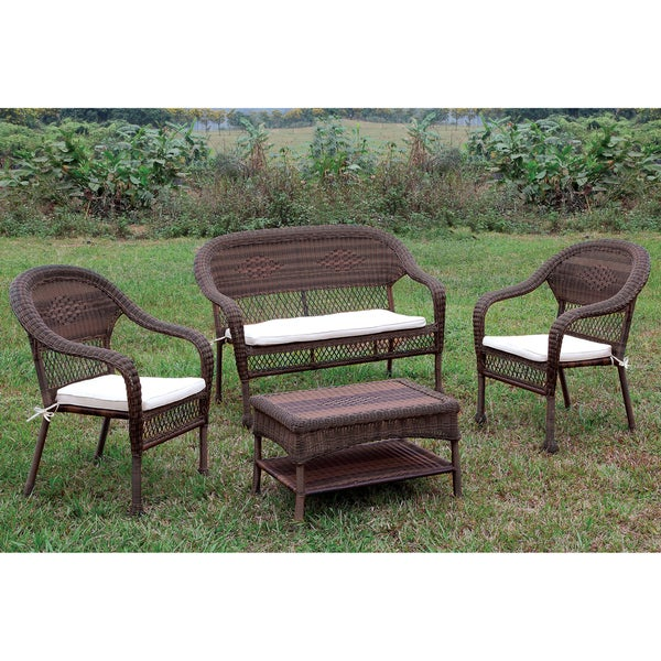 Furniture of America Koralie 4 piece Brown Wicker Inspired Patio Set