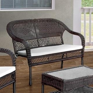 Furniture of America Koralie Brown Wicker Inspired Loveseat