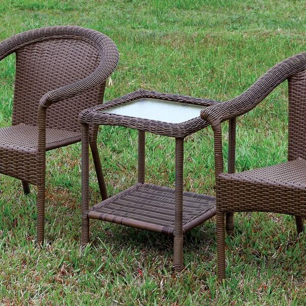 Furniture of America Dahlee Espresso Wicker 1-Shelf End Table