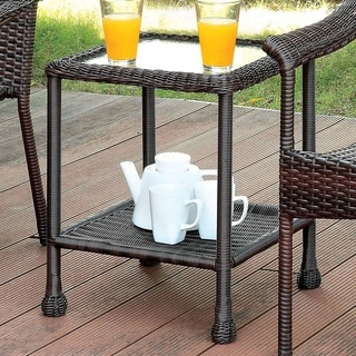 Furniture of America Dahlee Espresso Wicker 1-Shelf End Table