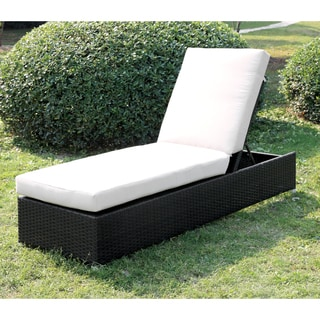 Furniture of America Patty Outdoor Wicker Adjustable Chaise Lounge with Cushion