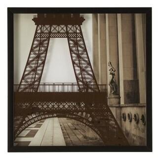 Eiffel Tower Silk Screen on Glass Shadow Box Wall Art