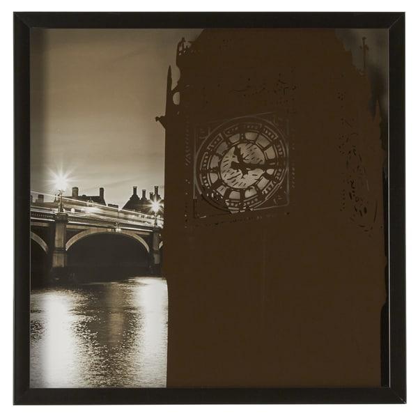 Big Ben Silk Screen on Glass Shadow Box Wall Art