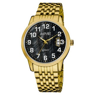 August Steiner Men's Automatic Mother of Pearl Date Display Bracelet Watch