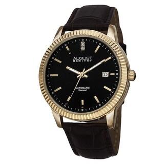 August Steiner Men's Diamond Automatic Genuine Leather Strap Watch