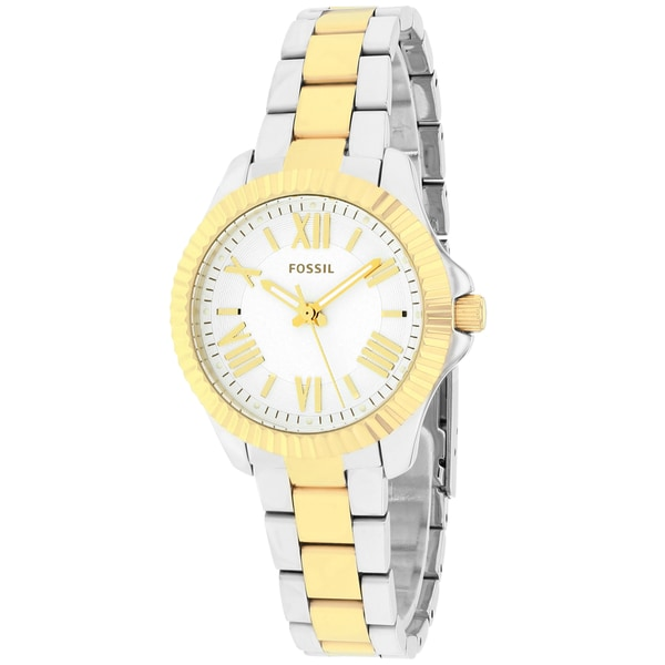 Fossil Women's AM4609 Cecile Round Two-tone Bracelet Watch