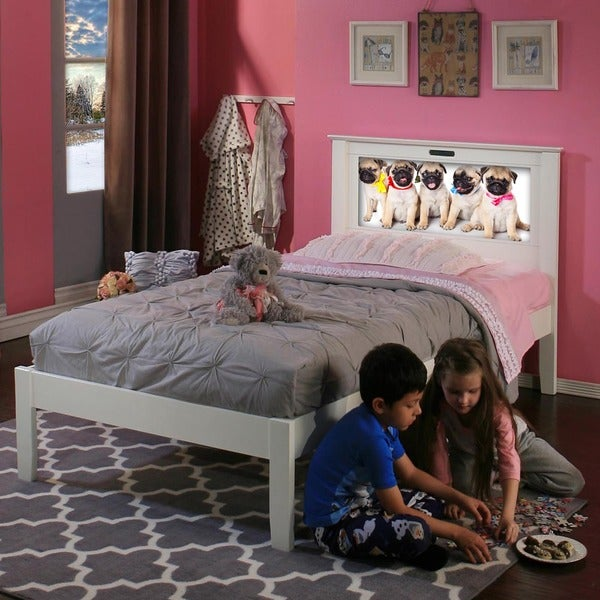 LightHeaded Beds Montgomery Twin Bed with Changeable Back-Lit LED Headboard Imagery - White