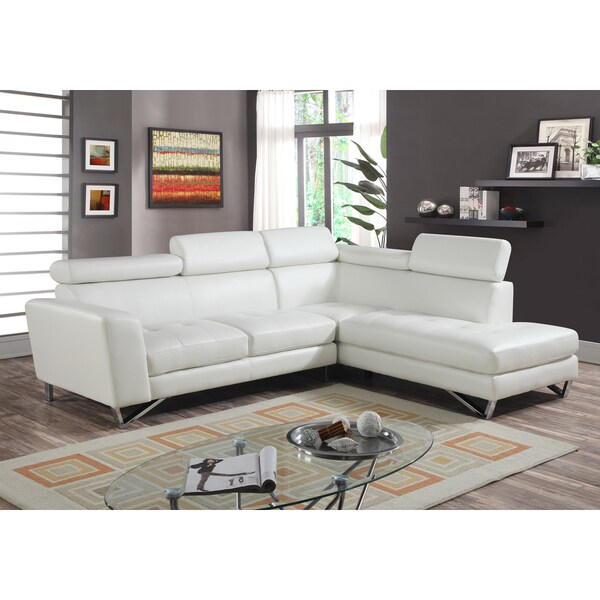 2pc Sectional White Bonded Leather