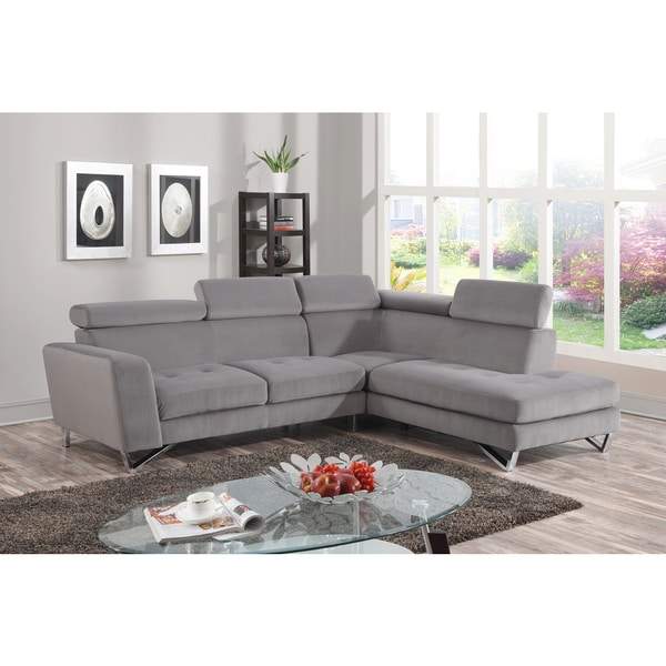 2pc Sectional Grey Microfiber