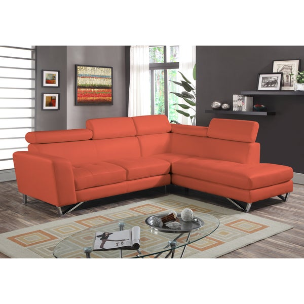 2pc Sectional Orange Microfiber