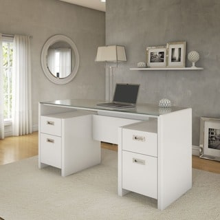 kathy ireland Office by Bush Furniture New York Skyline 63'' Bow-front Double Pedestal Desk