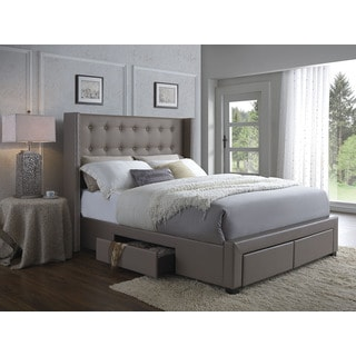 DC Casa Melrose Walnut Faux Leather Wingback Storage Bed