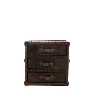 General 3-drawer Leather End Table