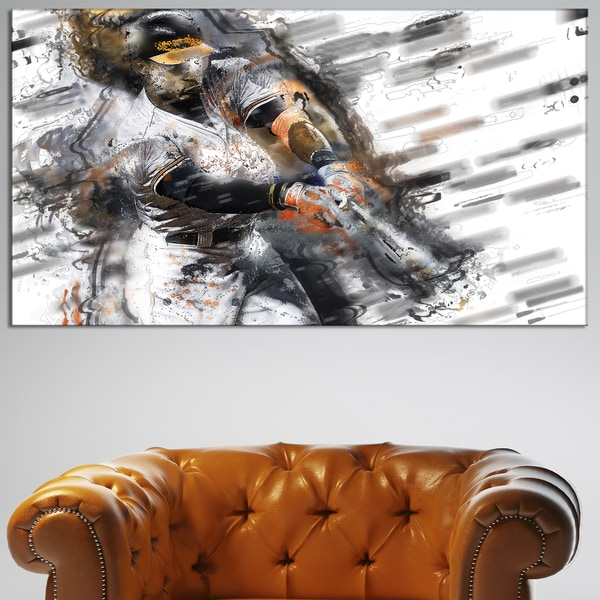 Design Art 'Baseball Power Slam' Canvas Art Print