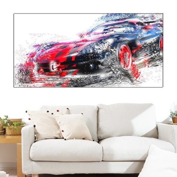 Design Art 'Red and Black Sports Car' Canvas Art Print