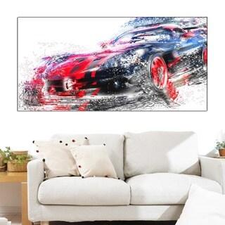 Design Art 'Red and Black Sports Car' Canvas Art Print