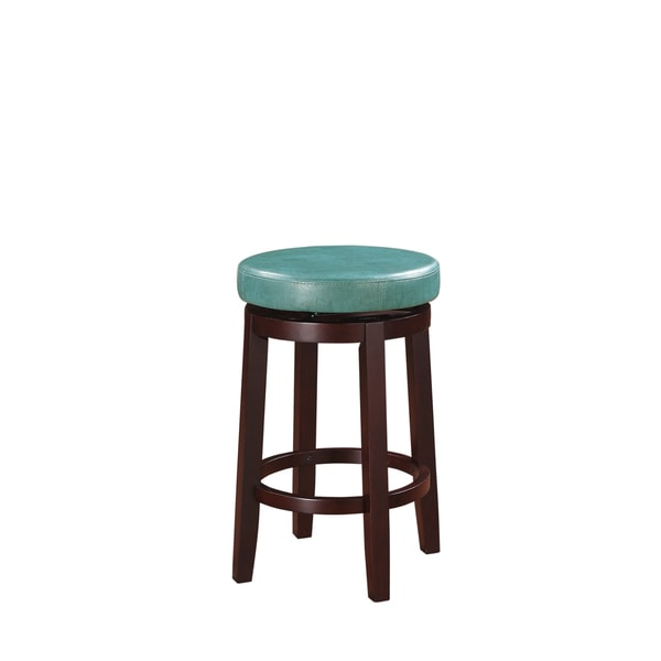 Oh! Home Dorothy Backless Counter Stool Aqua Blue Swivel Seat - 17123179 - Overstock Shopping ...