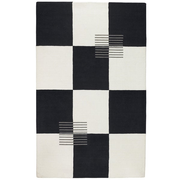 Somette Simply Classic SC18 Black/ White/ Grey Area Rug (8' x 11')