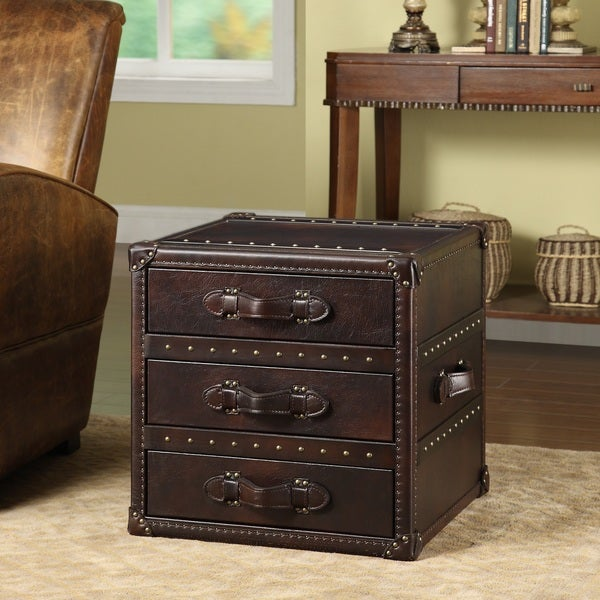 General Brown 3-drawer Leather End Table 15023767