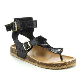 Qupid LAUDY-13 Women's Gladiator Ankle T-Strap Buckles Sandals
