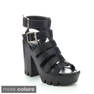 Qupid CRANK-01 Women's Cut Out Ankle Strapy Platform Heels