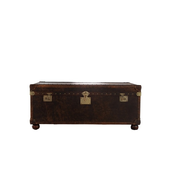 General 2-drawer Leather Steamer Cocktail Table