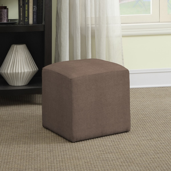 Better Living Brayden Tan/ Grey Velvet Small Cube Ottoman