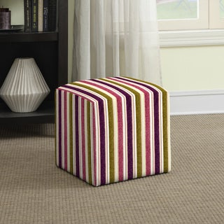 Better Living Brayden Purple and Green Stripe Small Cube Ottoman