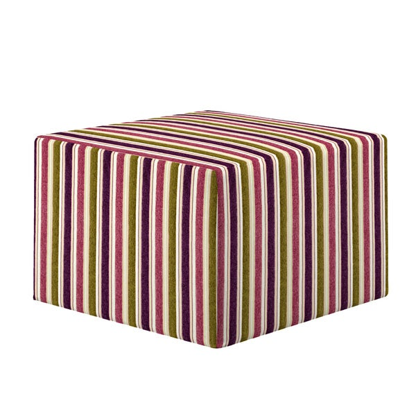 Better Living Brayden Purple and Green Stripe Large Cube Ottoman