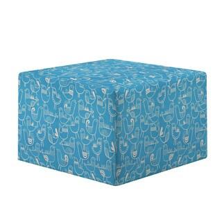 Portfolio Brayden Teal Blue Bird Design Large Cube Ottoman