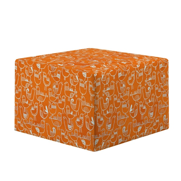 Better Living Brayden Orange Bird Design Large Cube Ottoman