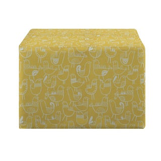 Portfolio Brayden Yellow Bird Design Large Cube Ottoman