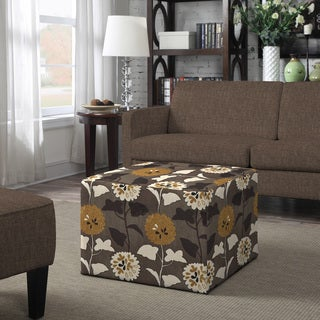 Better Living Brayden Brown and Cream Flowers Large Cube Ottoman