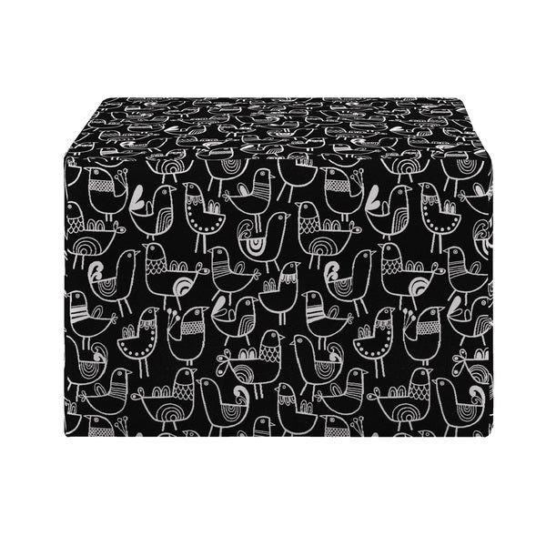 Better Living Brayden Black Bird Design Large Cube Ottoman